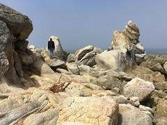 Rock formations on Carmel Middle Beach/three branches (LOLO Italiana) Tags: ca panorama seascape beach nature fog landscape sand rocks shoreline pacificocean carmel oneperson rockformations carmelmiddlebeach