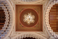 Ceiling Detail, Hassan II Mosque, Casablanca, Morocco (Abhi_arch2001) Tags: detail geometric architecture king pattern interior grand mosque ceiling morocco chandelier ii casablanca sultan hassan ornate moroccan islamic mega