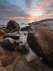 Red morning! (alex melsitov (www.melsitov.com)) Tags: november sea clouds sunrise bay nikon europe waves gulf stones tripod eu baltic latvia tokina daryl filter reverse benson grad riga roja latvija 1116 benro 3stop singhray colorphotoaward kaltene d300s 116pro melsitov blinkagain flickrtravelaward melsitovcom