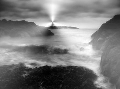 Sentinel (kenny barker) Tags: longexposure sea bw mist motion nature water monochrome fog landscape scotland day fife elie hypothetical firthofforth shockofthenew coastuk alwaysexc saariysqualitypictures panasonicg1 kennybarker