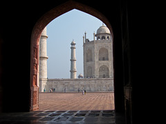 Taj Mahal from mosque doorway