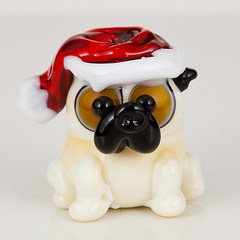 Santa Pug (maybeads) Tags: glass animal handmade critter bead lampwork maybeads