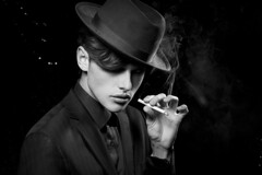 Alexandre (Laurianne Gouley) Tags: blackandwhite sexy beauty fashion dark photography photographie noiretblanc cigarette smoke makeup sensual beaut mysterious chic mode mafia dandy badboy sensuel classy fume lgant tnbreux lauriannegouley