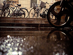Rainy night (imsuri) Tags: china light shadow 3 reflection water night digital bokeh bikes rainy nightlight chinadigitaltimes gr ricoh nanning guangxi 2011  project365 340365 grdiii