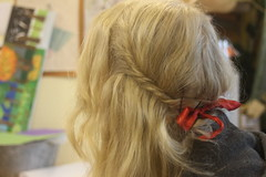 Red Ribbons & White Lace (youleah) Tags: girl hair pretty redribbon head blonde ribbon blondehair