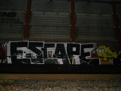 ESCAPE (FatFuckN/W) Tags: auto railroad 3 fish eye art colors up oregon burlington train portland photography graffiti paint nw escape pacific northwest fuck ns fat graf union norfolk rr southern pdx eyed fe dope northern carrier freight bnsf 503 sante csx autorack fr8 autoracks autoraxx