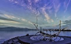 Never ending day.. (Olympe B.) Tags: longexposure blue water night soleil boat eau europe reykjavik fjord bluehour nuit midnightsun islande sunvoyager solfar oceanatlantique soleildeminuit nuagecloud seemer sonya550