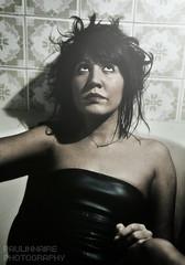 Leather muscles (Paolo Castronovo) Tags: light portrait woman girl beauty face leather fashion female canon dark bathroom model glamour eyes colours flash lips corset bathtub lipstick ritratti ritratto strobo sigma2470 beautyshoots paulinnaire