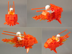 TRANSMUTE! Multiview (halfbeak) Tags: orange princess transparent battleoftheplanets lsb 2011 speederbike transmute legospeederbike colourmefascinated