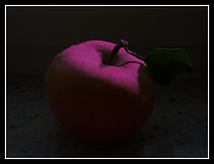 The deadly apple of the Garden of Eden (Edgar Chambon 94) Tags: camera autumn shadow brussels white black art apple electric mystery fruit composition dark tile fun photography design leaf stem europe shadows purple angle belgium quality touch shapes illumination freezing desire filter simplicity frame confused apples fade taste senses temptation embrace ideas effect shawdow symphony core imagery endless focal chambon inqusitive cameraolympus epl1 tempetatures