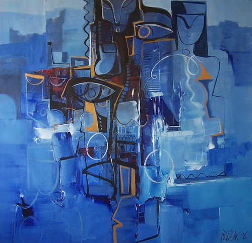 Blue Wash - Painting - Abstract Figurative