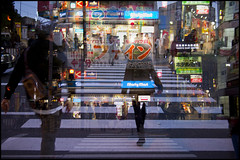 Double cross! (Eric Flexyourhead) Tags: street city people urban signs japan night walking japanese lights evening crossing doubleexposure multipleexposure pedestrians  osaka colourful kansai umeda kitaku   osakashi   olympusep1 panasoniclumix20mmf17