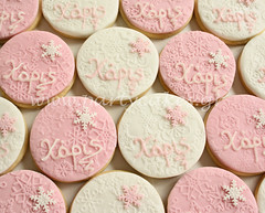 Cookies for a Christmas day baptism (Party Cakes By Samantha) Tags: snowflake christmas pink winter white snow cookies glitter name baptism christening