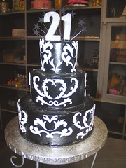 3-tier Wicked Chocolate cake iced in black chocolate ganache decorated with white fondant damask design & 3D glittery #21 (Charly's Bakery) Tags: birthday ladies cake town tv chocolate formal 21st wicked angels bakery reality cape charlys august2011