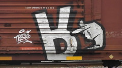MECRO (BLACK VOMIT) Tags: car train graffiti hand box finger down r boxcar freight upside cdc mecro treske rhinorek mecrology