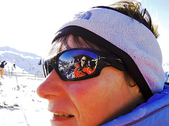 In the eye of the beholder. (Colour Blind Bob) Tags: winter mountain selfportrait ski reflection sunglasses austria nikon skiing snowy top sunny scene alpine coolpix slope oakley alpbach p300 inneralpbach gopro colourblindbob