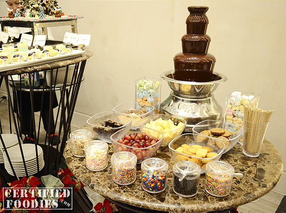 The chocolate fountain and fondue section of the buffet - Ken's favorite!