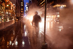 TGIF! (Che-burashka) Tags: nyc newyork man hat silhouette night leaving stream smoke dream dreams dreamlike canonef28mmf18usm urbanlyric leavingstuffbehind