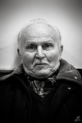 Mr. Luigi || Portrait - Eboli (SA) Italy (Francesco Agresti  www.francescoagresti.com) Tags: street portrait people blackandwhite bw italy monochrome person photography blackwhite triptych bokeh sony streetphotography vignetting helios triptychs nex helios58mm nex3 sonynex s8un3no frankies8un3no