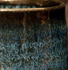 Black Tenmoku and Nuka glaze Yunomi by Michael Coffee - 4 (debunix) Tags: blue teacup yunomi nuka shyrabbit michaelcoffee blacktenmoku