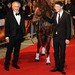 Steven Spielberg and Jeremy Irvine at the premiere of War Horse at Odeon, Leicester Square, London, England