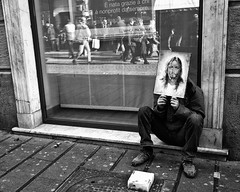 jesus no profit (michele liberti) Tags: street city urban blackandwhite reflection pen jesus streetlife naples homeles epl1