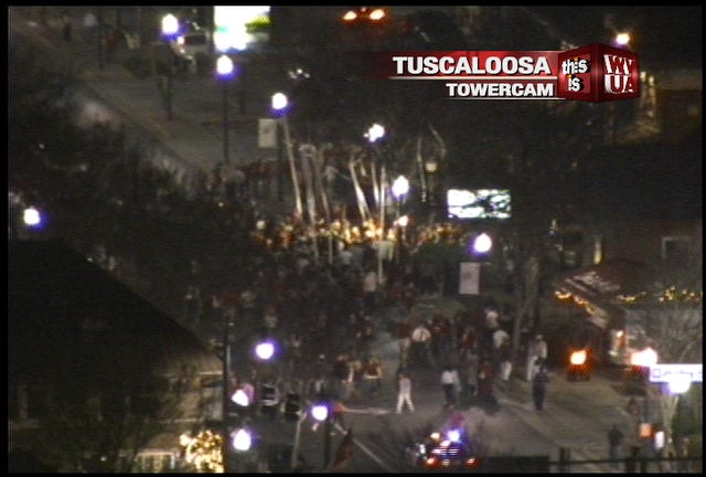 Check out this image taken exclusively from WVUA Tuscaloosa Towercam. We're looking at the strip on University Boulevard. There are hundreds of people in the street celebrating the 14th National Championship for the Alabama Crimson Tide. Roll Tide!