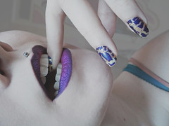 Purple LIps (Jenface) Tags: pink pierced make up mouth gold purple teeth nail fingers makeup lips piercing biting nails bite lip medusa nailart