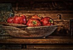 Apples (debi1054) Tags: corn bowl jar antiques woodbowl butterpress woodhutch debiboucher