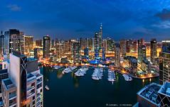 Glittering Marina [2] (DanielKHC) Tags: blue night digital marina boats 1 nikon dubai uae explore hour blending d300 danielcheong danielkhc nikoor105mmf28fisheye
