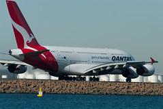 Qantas A380 VH-OQC (10greenbottles) Tags: beach water airport rocks pentax aircraft sydney a380 therocks syd qantas sydneyairport 2011