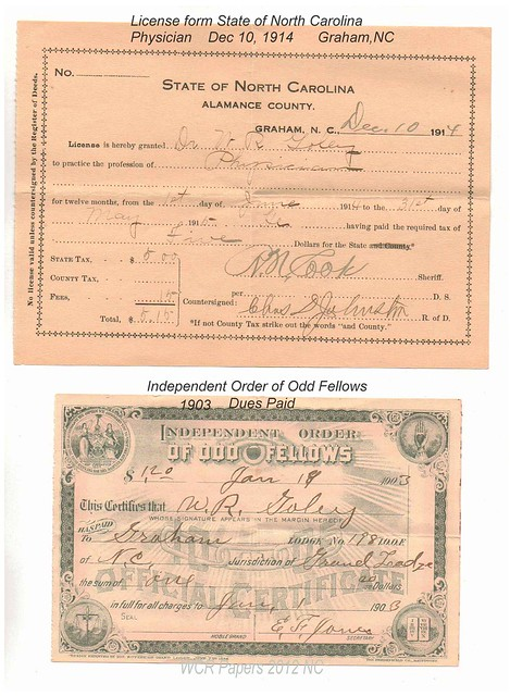 Goley_Dr. WR_Lic-NC1914_ODD FELLOWS_1903 dues