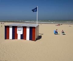 Beach Life (stumayhew) Tags: uk blue sea summer beach yellow landscape kent sand flag coastal southcoast margate beachscene martinparr