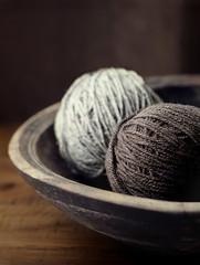 winter nights... (..Ania.) Tags: winter bowl hobby yarn browns woodenbowl imaknitter