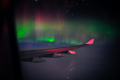 Northern Lights over Atlantic 2 (HANGAR ENT.) Tags: ocean light canada storm green airplane lights flying space aviation air north atlantic polar northern