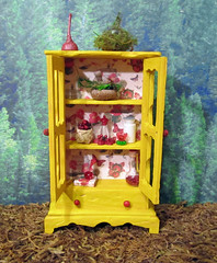 Miniature Enchanted Fairy Nature Cabinet~1:12thScale (Enchanticals~ Death in Family) Tags: wood flowers trees red wallpaper green nature glass floral yellow altered miniature oak cabinet handmade butterflies fairy fantasy hutch foundobjects collectible etsy acorns fae crystalball miniaturefurniture alteredfurniture 112th dollhouseminiatures 112thscale onetwelfthscale etsyteams homedcor teammids enchanticals miniaturedollhousescale minitreasures enchanticalsetsy fantastyfurniture faeteamteam