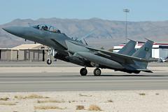 9225 (Rich Snyder--Jetarazzi Photography) Tags: plane airplane fighter lasvegas aircraft nevada jet landing nv boeing arrival bomber saudiarabia arriving f15 strikefighter nellisafb strikeeagle royalsaudiairforce 9225 lsv f15s klsv aerodynamicbraking redflag1202