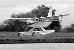 C-FTEL re-painted (John W Olafson) Tags: blackandwhite airplane quest seaplane kodiak telus floatplane repaint propblur vancouversouth cam9 cftel