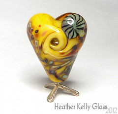 03.02.12_BananaSplitValentine_2 (Heather Kelly Glass) Tags: glass yellow beads banana lampwork myfunnyvalentine murrini cheekycherub frittesting