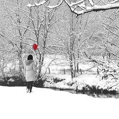 Red balloon by a snowy river (A1yson) Tags: red balloon redballoon flickrchallengegroup flickrchallengewinner