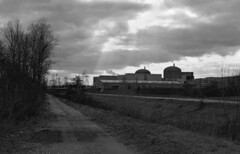 949.Nuclear power plant of Saint Pierre Of Boeuf (Greg.photographie) Tags: blackandwhite film analog photoshop 35mm eos 50mm noiretblanc ilfordhp5 ilford 50mm18 pellicule caffenol 24x36 eos10 cs5 caffenolc