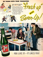 They're a Fresh-Up Family (saltycotton) Tags: family kitchen cookies vintage magazine children baking snowman father ad mother husband apron advertisement 1940s housewife 7up 1947 softdrink sodapop parentsmagazine