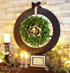 Boxwood Wreath with Nest on Mirror (dining delight) Tags: bunny birdcage fireplace ivy lantern candlesticks minilights heisrisen boxwoodwreath blackroundmirror |springmantel