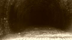 Silkstone No1 Tunnel  -  interior  (sepia)   (Silkstone - Wath old railway)  May 2016 (dave_attrill) Tags: great central railway electrified woodhead sheffield victoria manchester picadilly closed 1970 1955 stocksbridge engine transpennine trail penistone wortley dunford bridge thurgoland oxspring barnsley junction huddersfield allweather cycleway bridleway footpath remains electrification overgrown silkstone tunnel common 1981 class 76 no1 may 2016