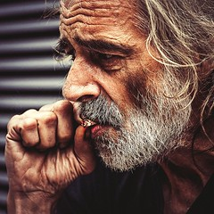 Greg SmoKing (C.Preston Roberts) Tags: life street portrait man closeup beard homeless profile documentary streetlife smoking reportage