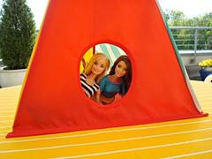 Here we are - in our new tent! :-D (Deejay Bafaroy) Tags: red rot ikea scale yellow toy toys outdoors miniature doll dolls cone stripes barbie tent gelb 16 spielzeug mattel zelt striped puppe draussen puppen streifen spielsachen miniatur gestreift spielwaren playscale lattjo madetomove spielkegel