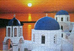 Santorini - Greece (pefkosmad) Tags: sunset church hobby puzzle santorini greece photograph leisure jigsaw blueandwhite pastime clementoni 500pieces