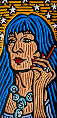 eleanor zissou (Lisa Brawn) Tags: wood portrait celebrity calgary art film illustration painting design graphics artist folkart canadian carving popart lifeaquatic alberta hollywood wesanderson darjeeling woodcut woodcarving woodblock brawn reclaimed royaltenenbaums salvaged upcycled fantasticmrfox lisabrawn grandbudapesthotel