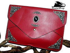 Red leather bag for tablet coating hematite silver vintage style steampunk, Gothic, Victorian, fantasy filigree accessories (fenixdrag) Tags: handmade gothic victorian accessories steampunk redbag handmadebag gothicstyle vintageaccessories leatherbag handmadeaccessories gothaccessories darkbag steampunkaccessories victorianaccessories victorianbag steampunkbag gothicbag redleatherwomenbag vintagebagleather
