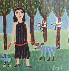 "#1337 ""In the park"" (sariart2) Tags: park blue original trees dog abstract black art girl birds painting landscape acrylic raw dress folk ooak sari childlike azaria noy"